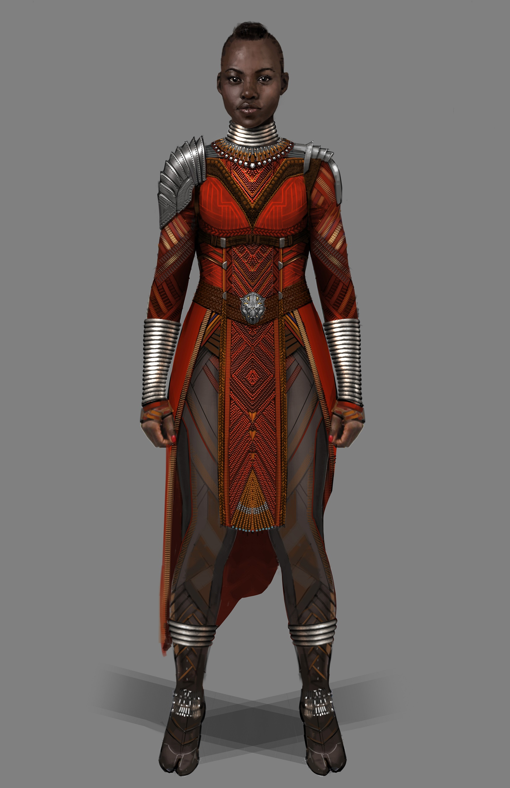 Marvel Studios' BLACK PANTHER..Nakia Dora Milaje Conceptual Character and Costume Design Sketch..Costume Design: Ryan Meinderding and VisDev Team working w/ Ruth Carter..©Marvel Studios 2018