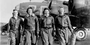 These four female pilots leaving their ship at the four engine school at Lockbourne are members of a group of WASPS who have been trained to ferry the B-17 Flying Fortresses. (U.S. Air Force photo)