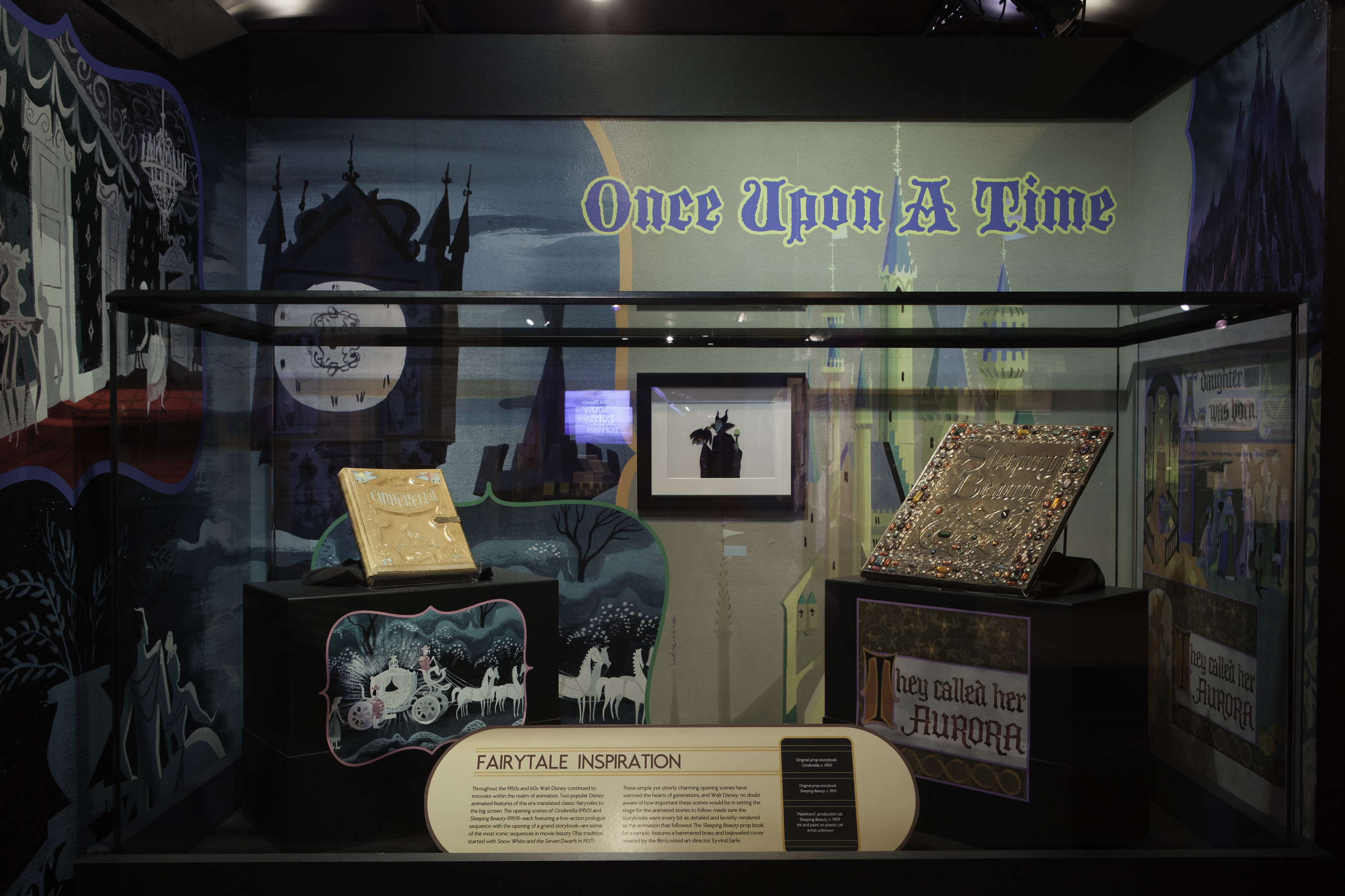 Once Upon a Time: Prop storybooks used in the opening scenes of Disney animation classics Cinderella and Sleeping Beauty. [J.B. Spector, Museum of Science and Industry]