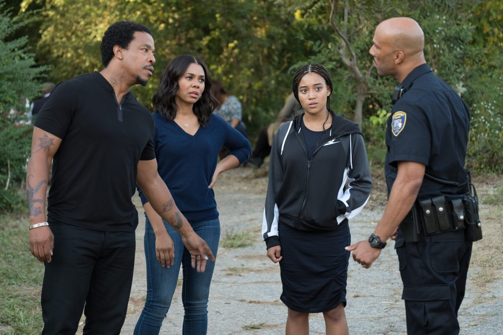 DF-05926 – L-R: Russell Hornsby, Regina Hall, Amandla Stenberg, and Common in Twentieth Century Fox's THE HATE U GIVE. Photo Credit: Erika Doss.